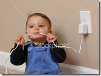 Kid chewing cord